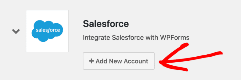 add new wpforms account in salesforce plugin for wordpress
