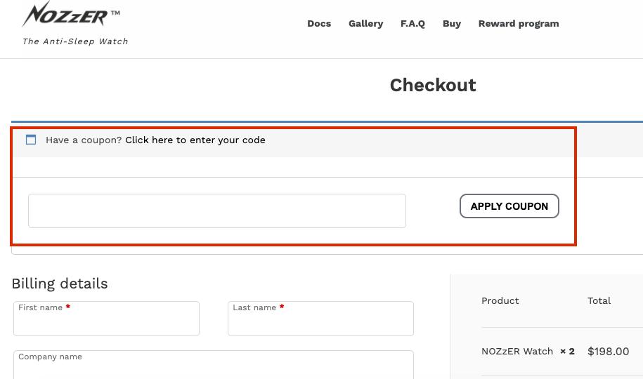 nozzer checkout page