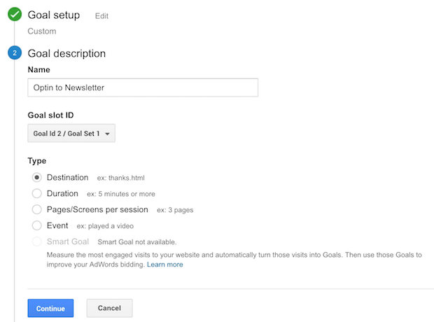 adding goal description in google analytics