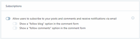 discussions tab in jetpack to manage subscription, comments and shares on the blog