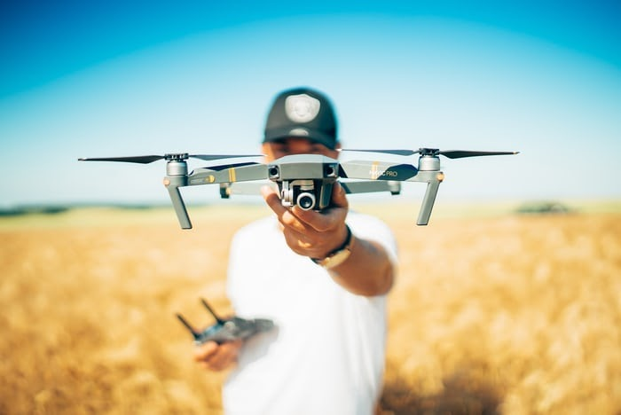 Man flying camera drone