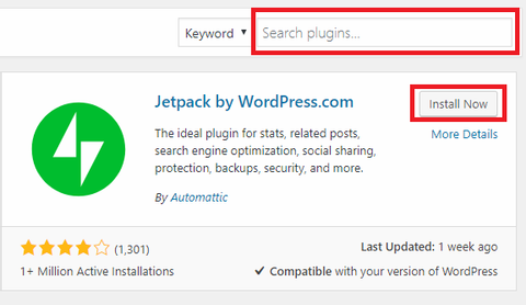 jetpack plugin by searching it in wordpress plugin search bar