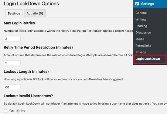login lockdown option to secure wordpress website