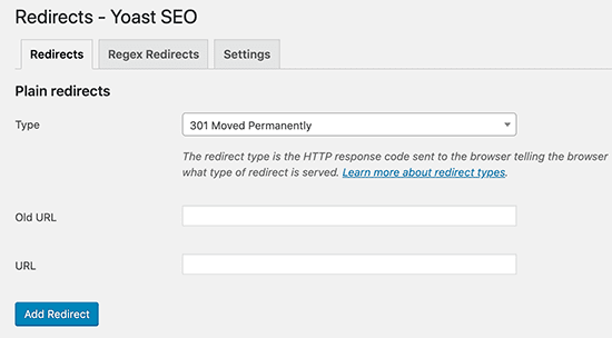 set up 301 and 404 redirect with yoast plugin
