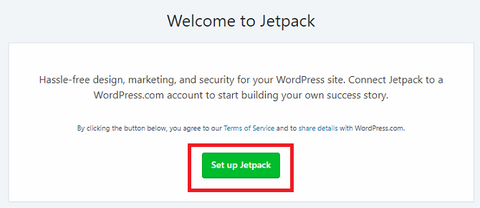 setup jetpack by linking it with wordpress