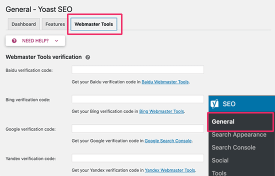 set up webmaster tools with yoast
