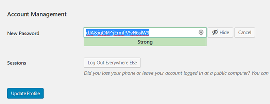strong wordpress password