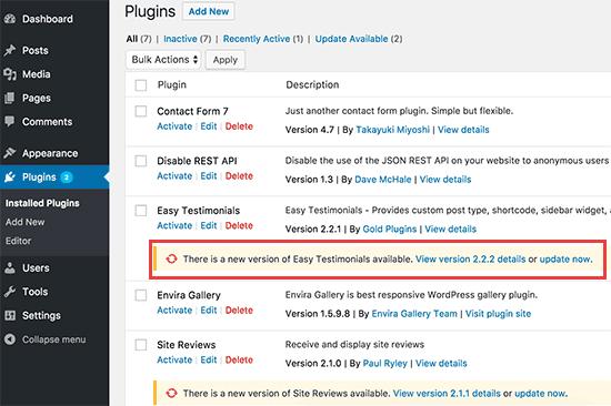 update wordpress plugins to secure wordpress website