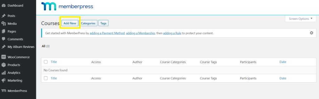 add new courses to memberpress classroom mode