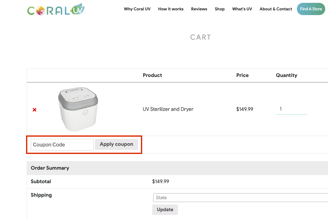 checkout page to apply coral uv coupon codes