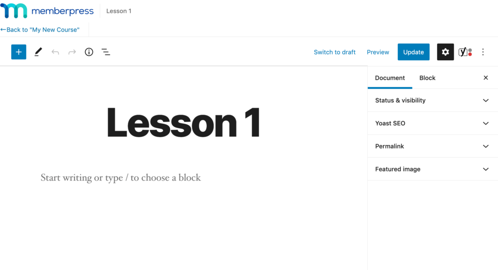 update lesson details in memberpress