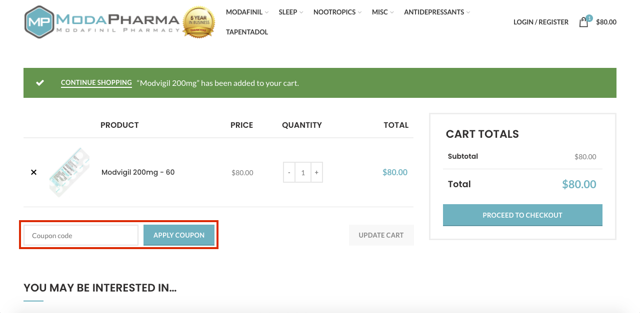checkout page to apply modapharma coupon codes