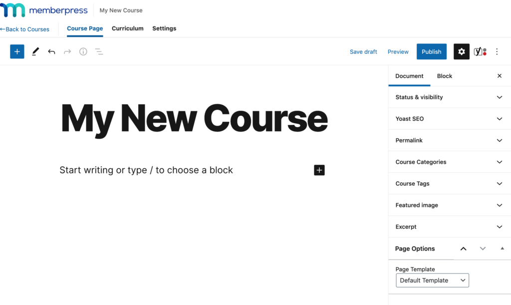 content editor to fill details of new courses in memberpress