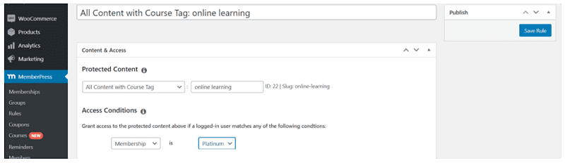 set rules and add tags to courses and lessons in memberpress