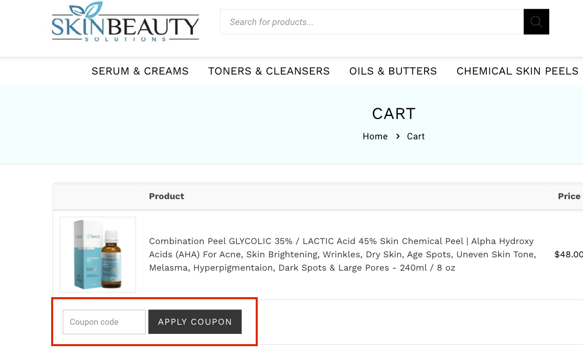 checkout page to apply skin beauty solutions coupon codes