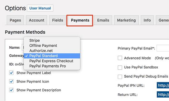 memberpress payment settings
