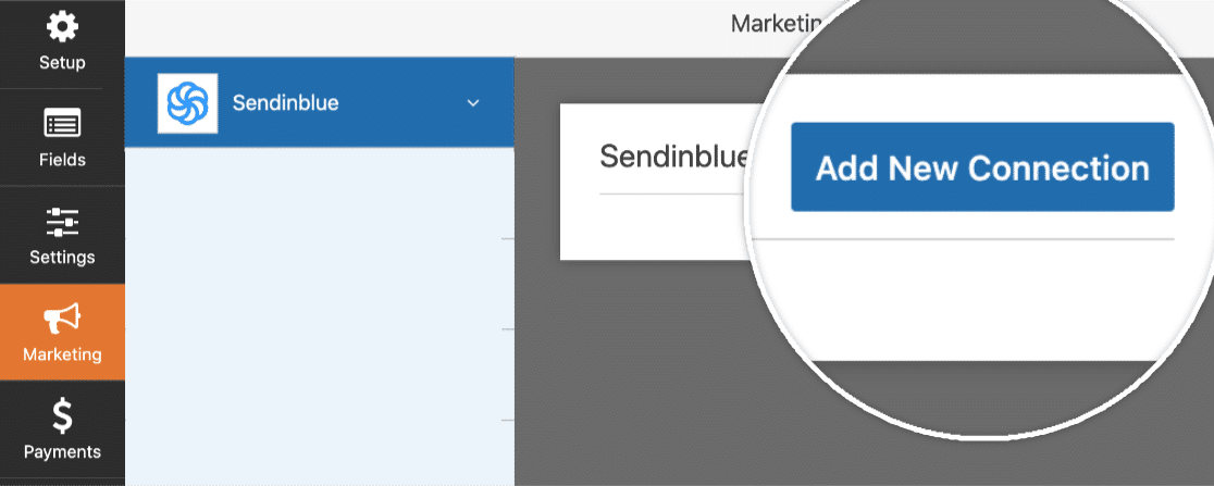 new email connection on sendinblue