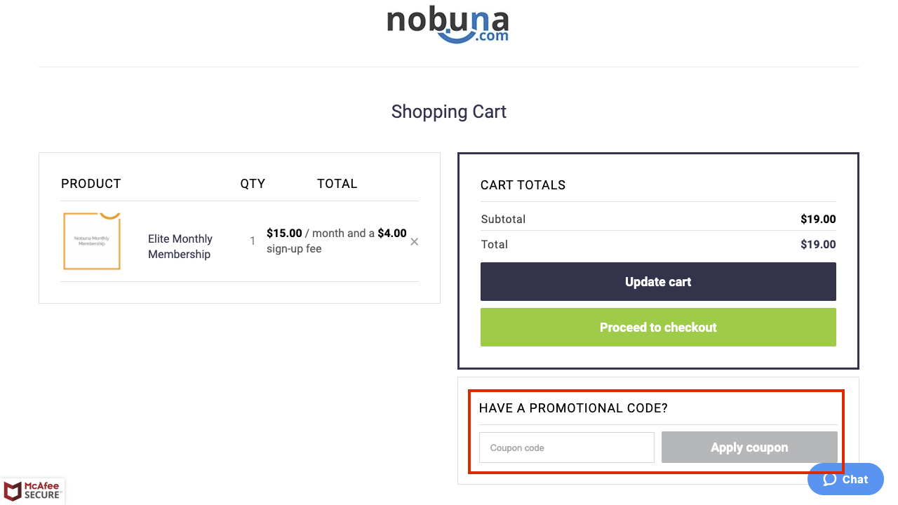 checkout page to apply nobuna coupon codes