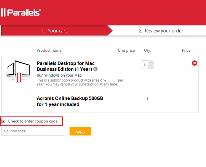 checkout page to apply parallels coupon codes
