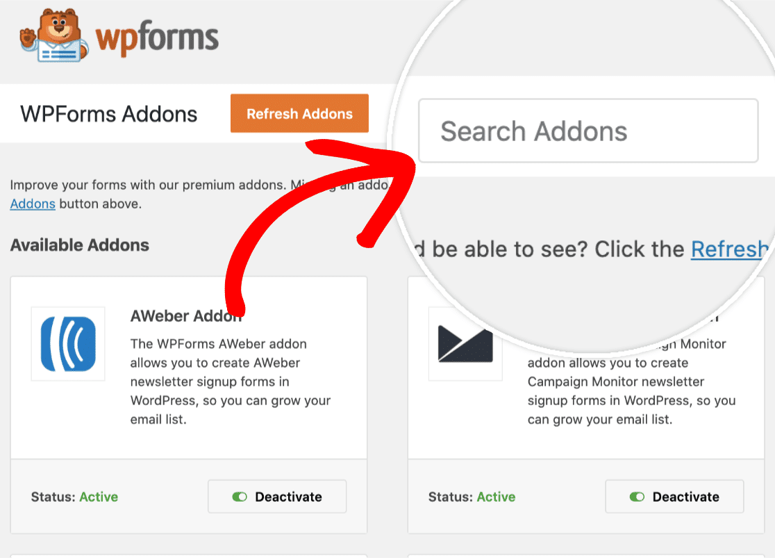 search for sendinblue addon with wpforms