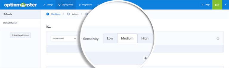 set sensitivity level for exit intent popups