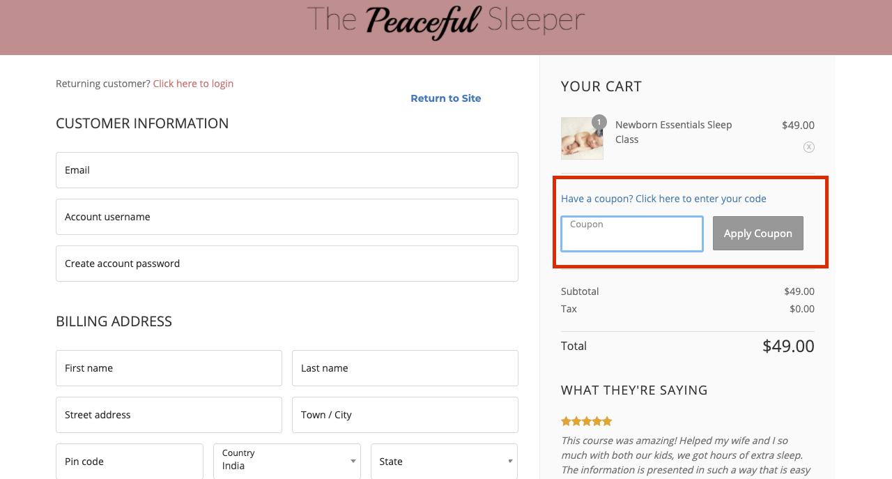 checkout page to apply the peaceful sleeper coupons