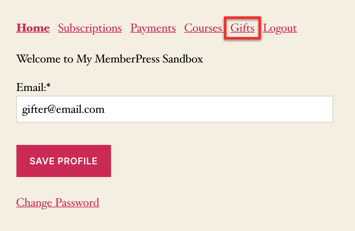 account of memberpress membership gift sender
