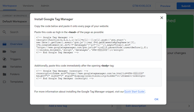 install google tag manager with code to install gtag js on WordPress