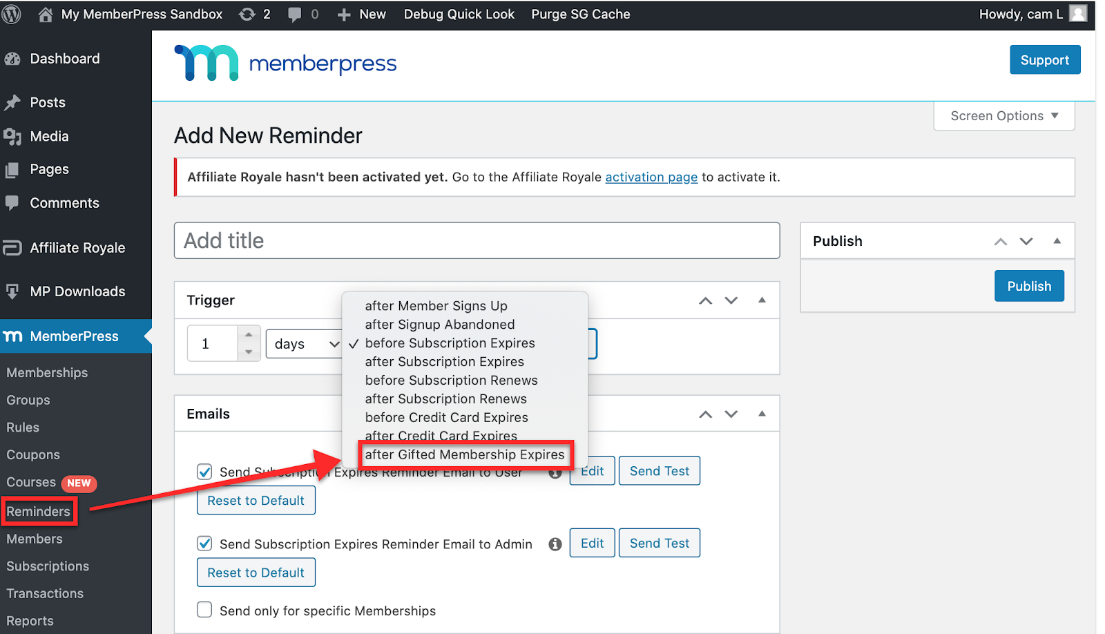 set up membership expiration reminder on memberpress