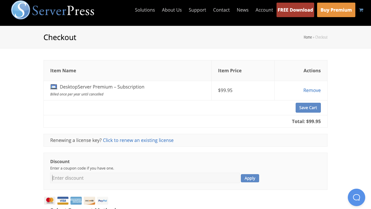 checkout page to apply ServerPress Discount Codes