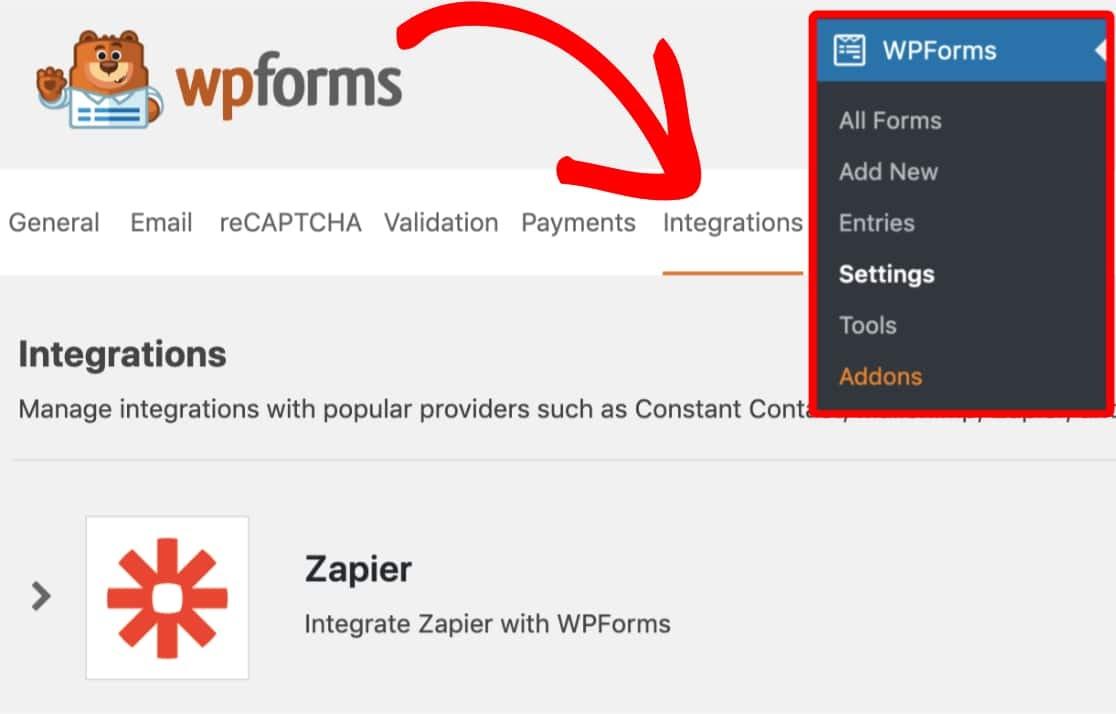 find zapier addon in the wpforms integrations menu