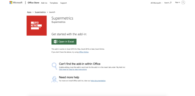 how to set up supermetrics for ms excel
