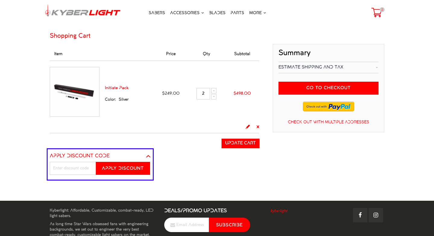 checkout page to apply kyberlight discount codes
