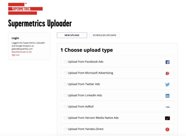 set up supermetrics with uploader