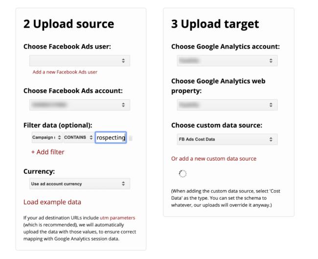 upload source and target for supermetrics tool in uploader