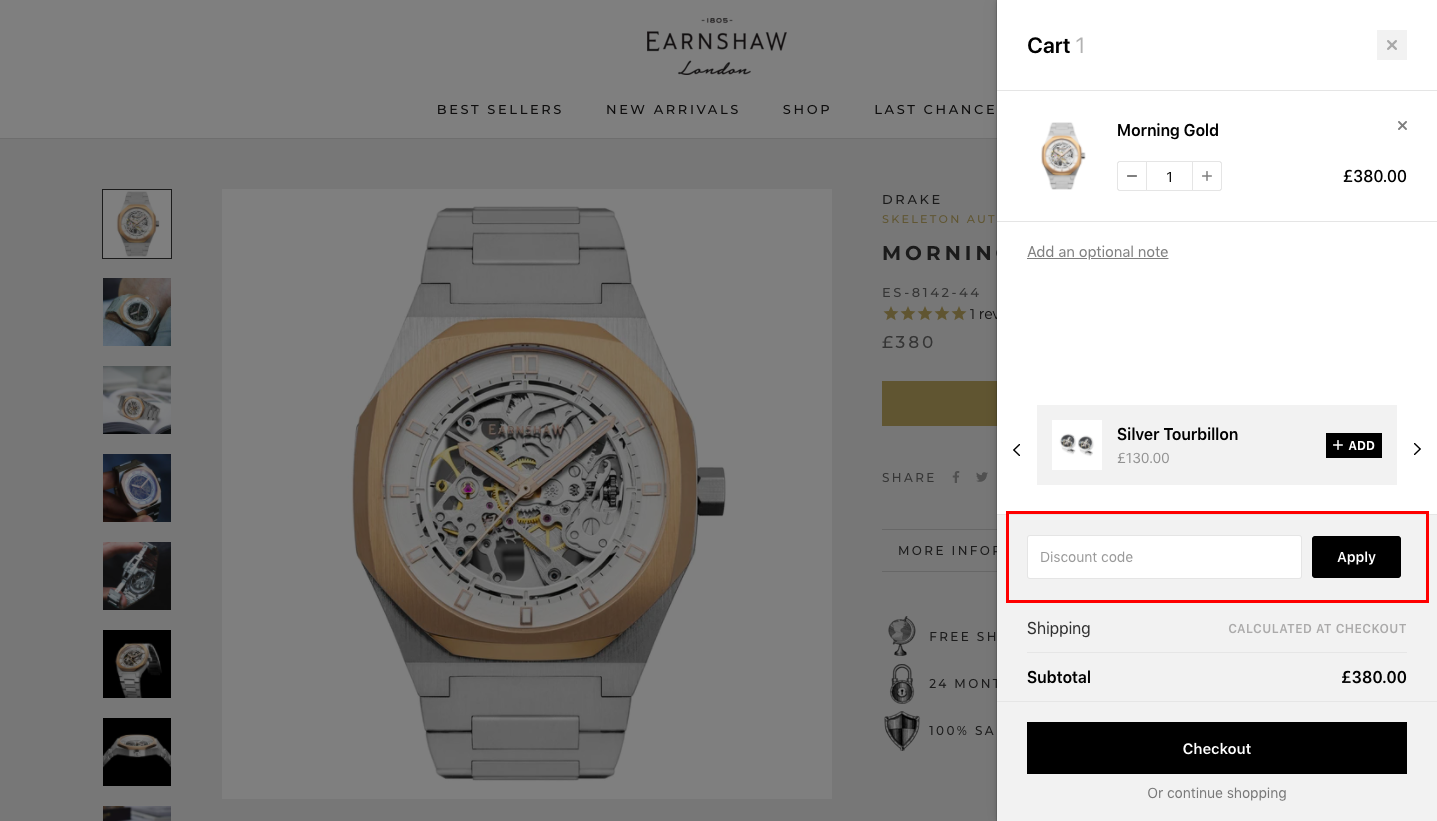 checkout page to apply earnshaw watch discount codes