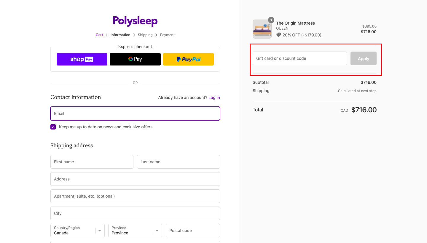 checkout page to apply polysleep discount codes