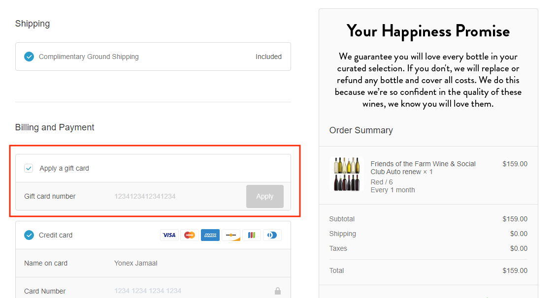 checkout page to apply dry farm wines coupon codes