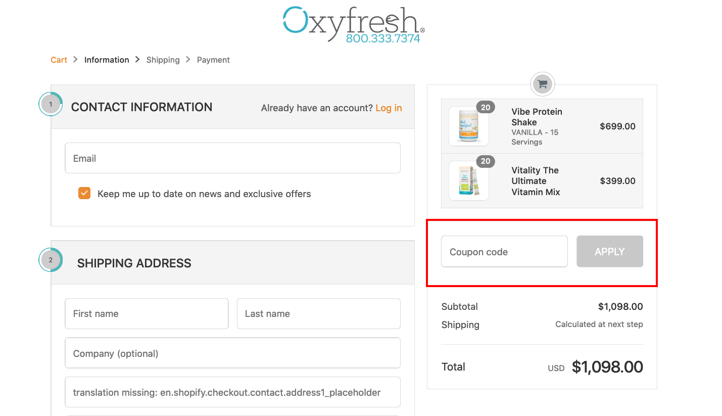 checkout page to apply Oxyfresh Coupon Codes