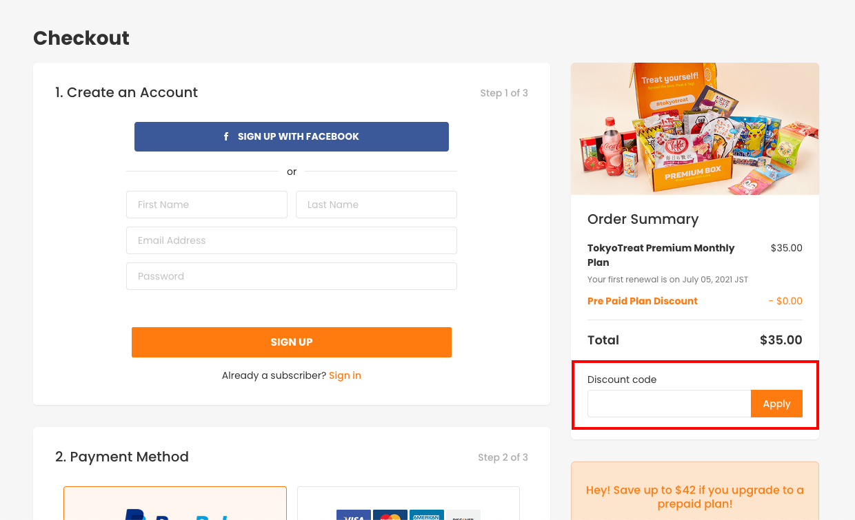 checkout page to apply tokyotreat discount codes