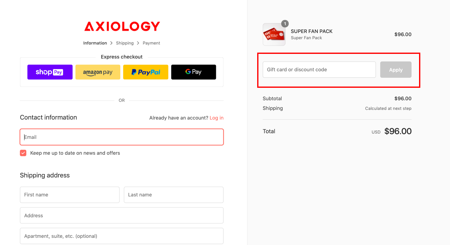checkout page to apply axiology discount codes