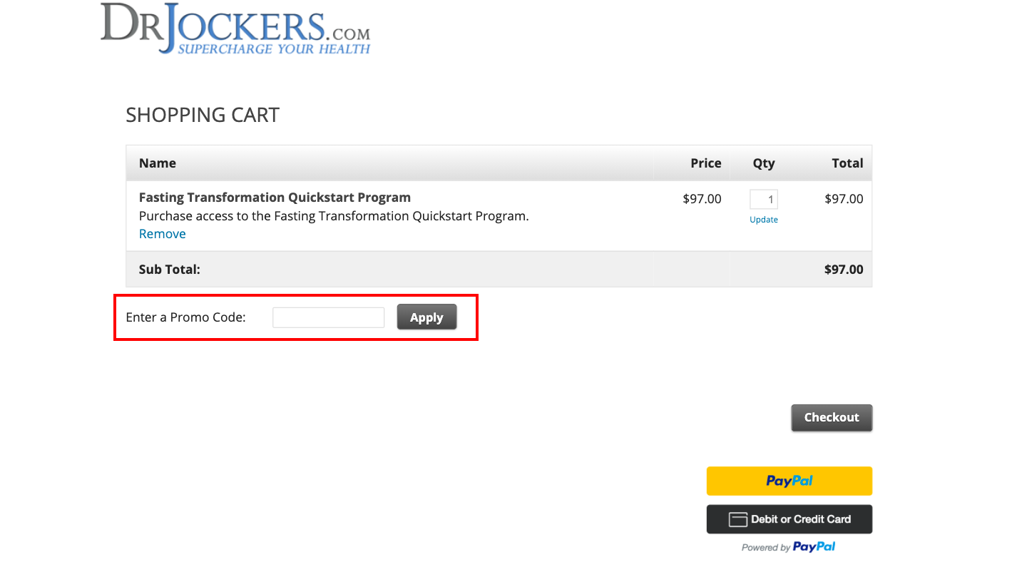 checkout page to Apply Dr. Jockers Promo Codes