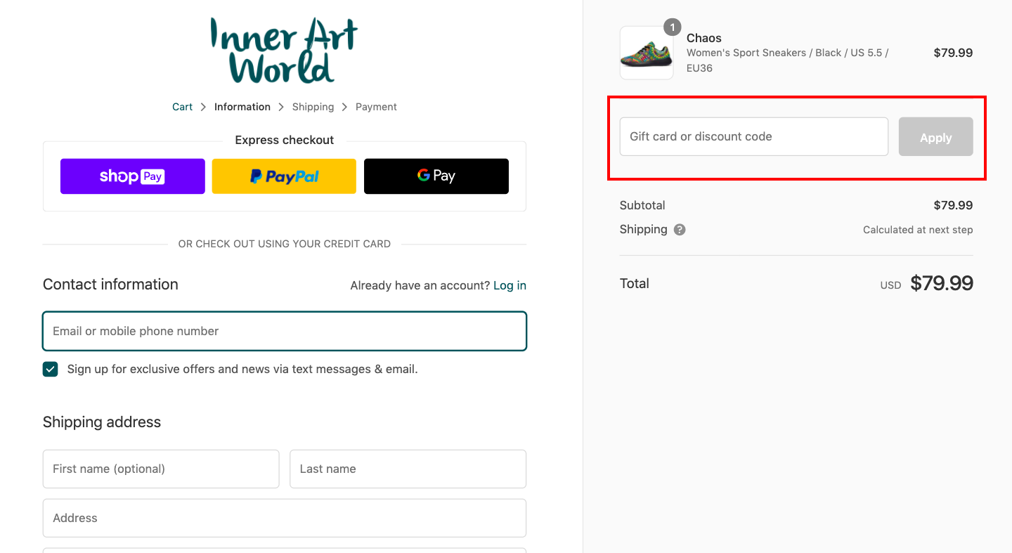 checkout page for Applying Inner Art World Discount Codes