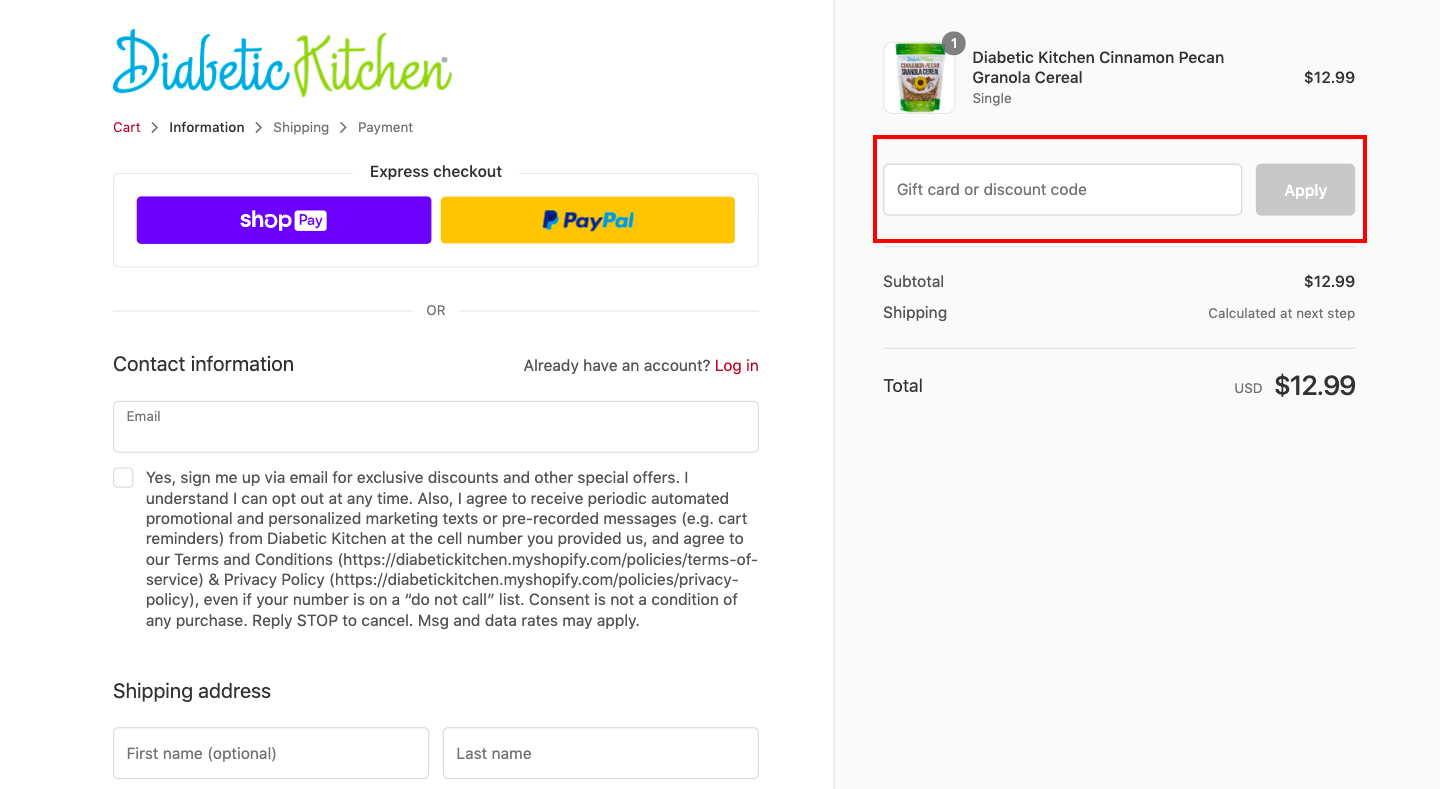 checkout page to Apply Diabetic Kitchen Discount Codes