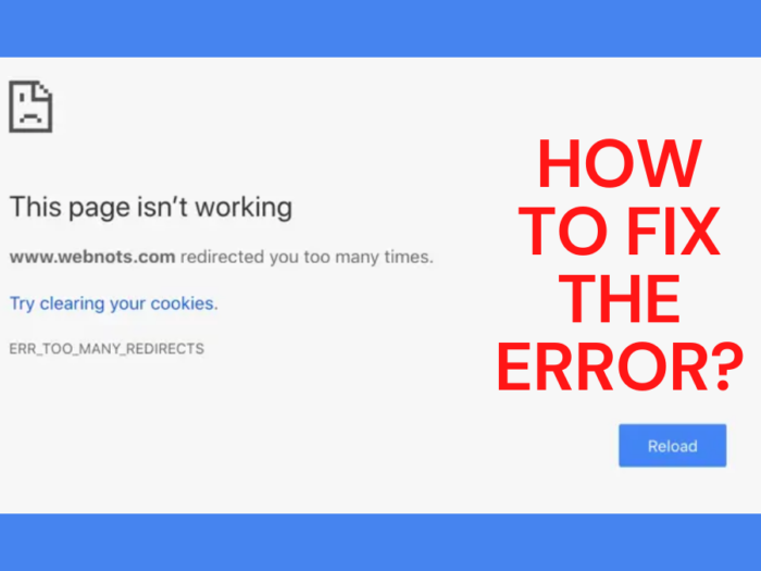 how to fix too many redirects error