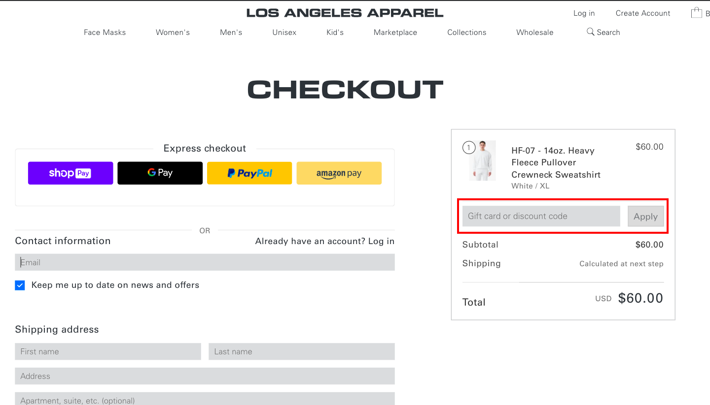 checkout page to Apply Los Angeles Apparel Discount Codes