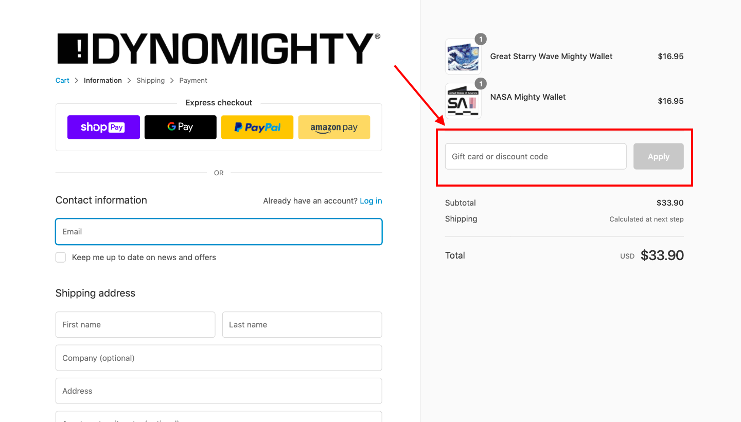 checkout page to apply mighty wallet discount codes