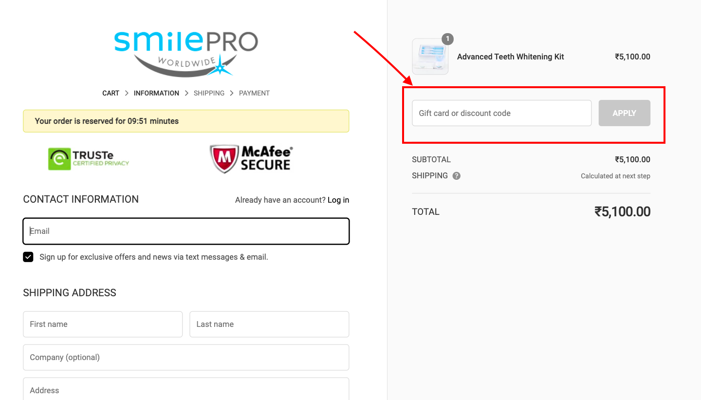 checkout page to Apply SmilePro Worldwide Discount Codes