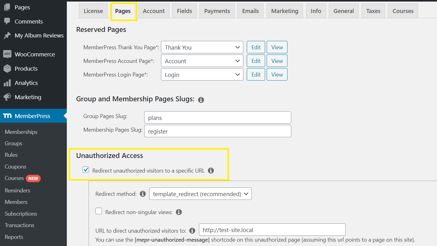 redirect unauthorized users to a specific pages in memberpress
