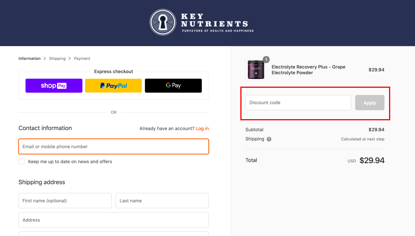 checkout page to Apply Key Nutrients Discount Codes?